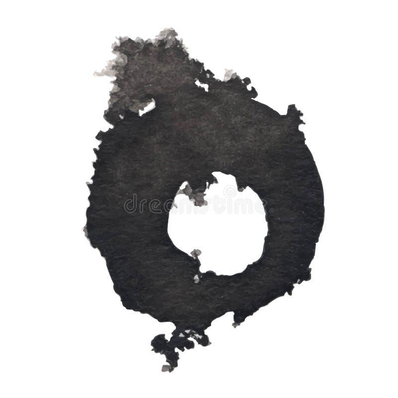 Zwarte die inktvlek op een witte achtergrond wordt geïsoleerd De textuur van Grunge stock afbeelding