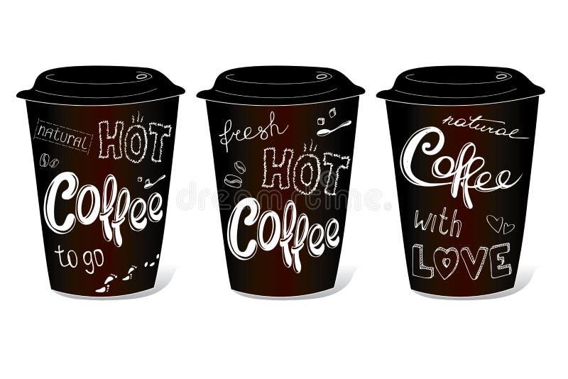 Zwarte die koffiekop met hand-tekeningen op het thema wordt behandeld stock illustratie
