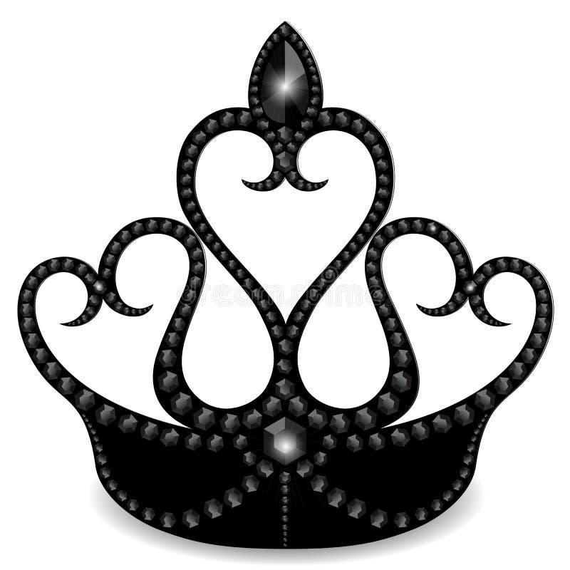 Zwarte die kroon met stenen wordt verfraaid, op een witte achtergrond worden geïsoleerd royalty-vrije illustratie