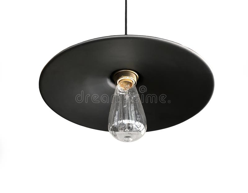 Zwarte die plafondluminaire op witte, lichte inrichting of lichte montage wordt geïsoleerd royalty-vrije stock afbeeldingen