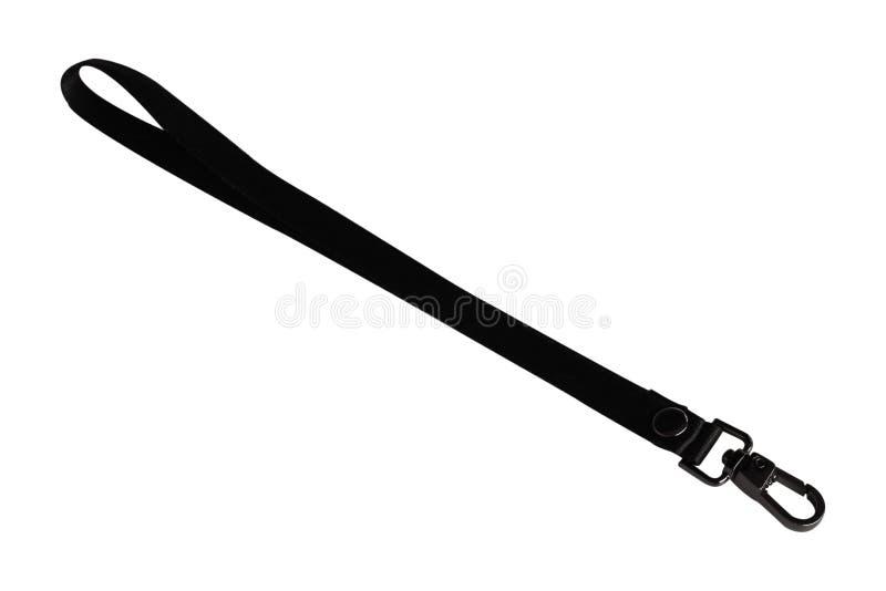 Zwarte die riem met haken op witte achtergrond worden geïsoleerd Met clippi stock afbeeldingen