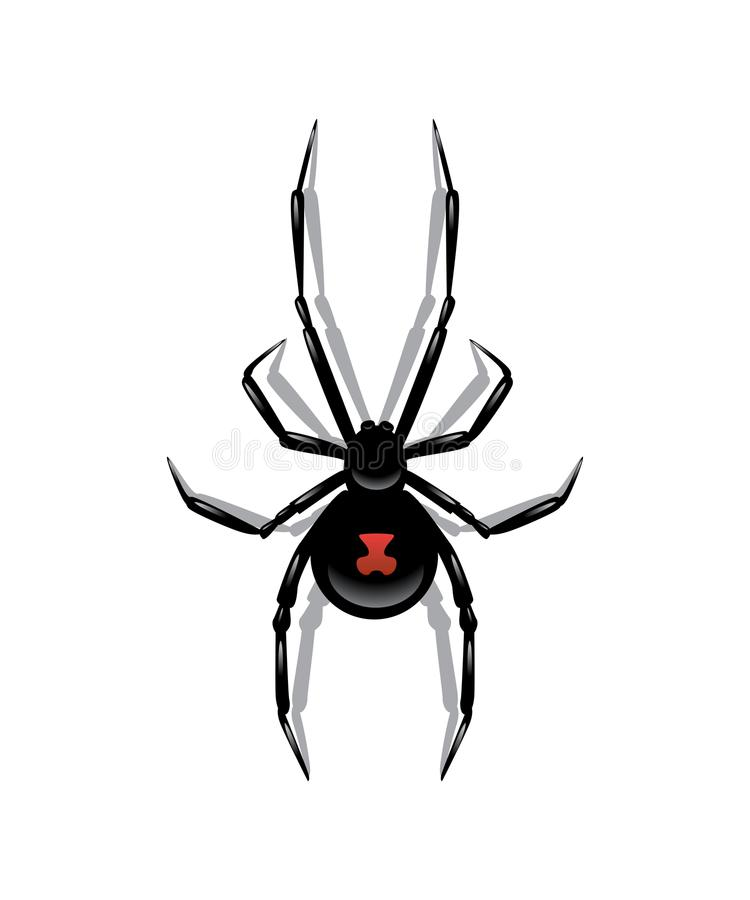 Zwarte die spin op witte achtergrond wordt geïsoleerd Purper nagellak met zilveren GLB op een witte achtergrond royalty-vrije illustratie