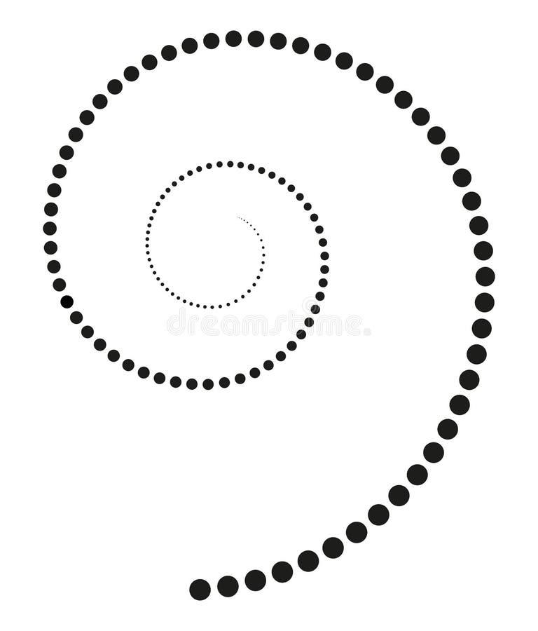 Zwarte die spiraal van stijgende punten wordt gemaakt stock illustratie