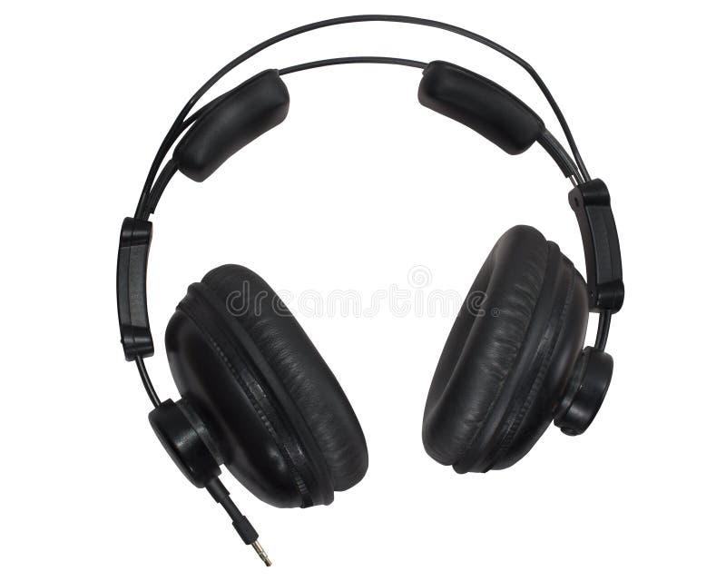 Zwarte die studiohoofdtelefoons op de whiuteachtergrond worden geïsoleerd stock foto