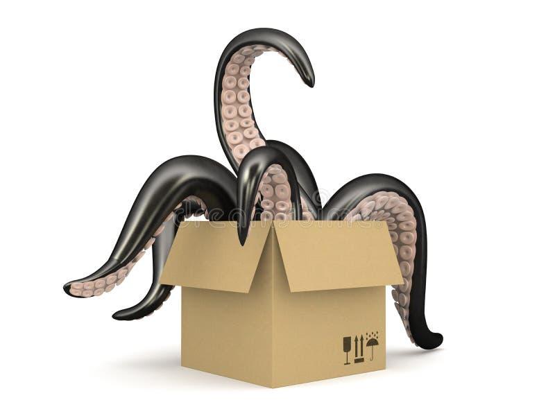 Zwarte die tentakels in een kartondoos op witte achtergrond wordt geïsoleerd stock illustratie