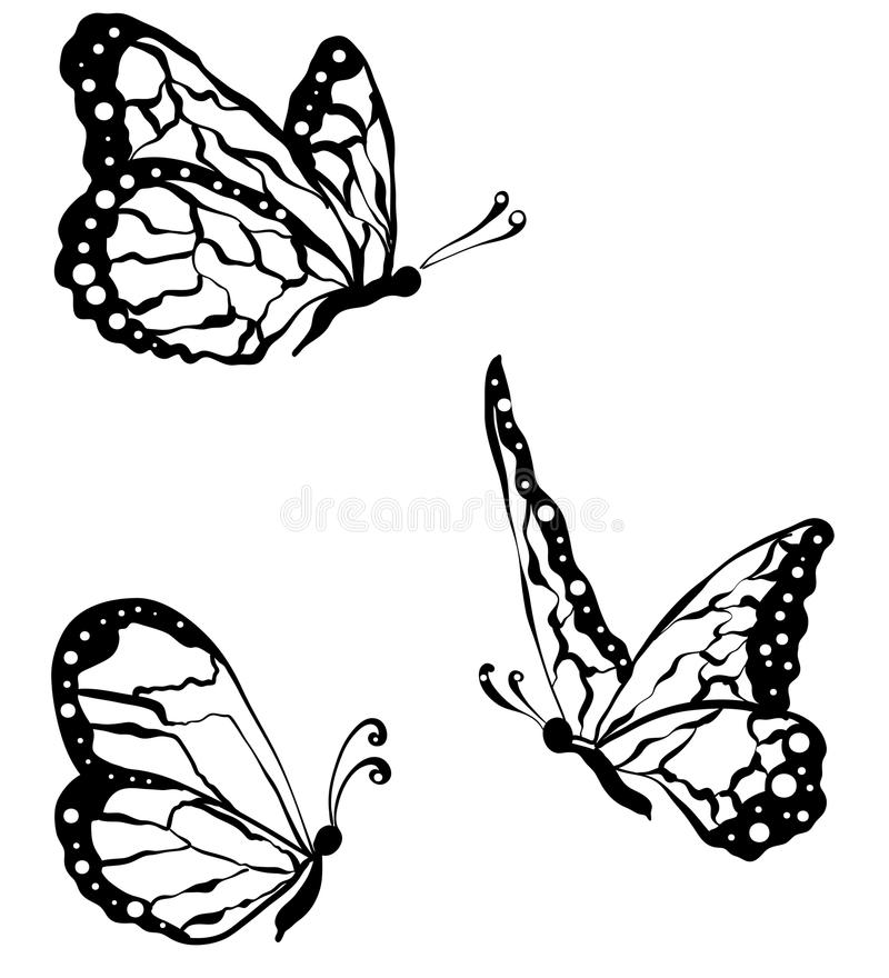 zwarte die vlinders op witte achtergrond, close-up worden geïsoleerd vector illustratie