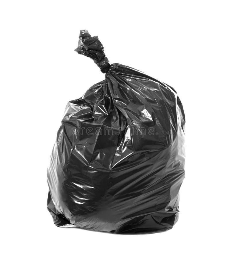 Zwarte die vuilniszak op wit wordt geïsoleerd royalty-vrije stock foto's