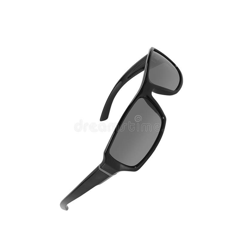 Zwarte die zonnebril op wit wordt geïsoleerd stock foto