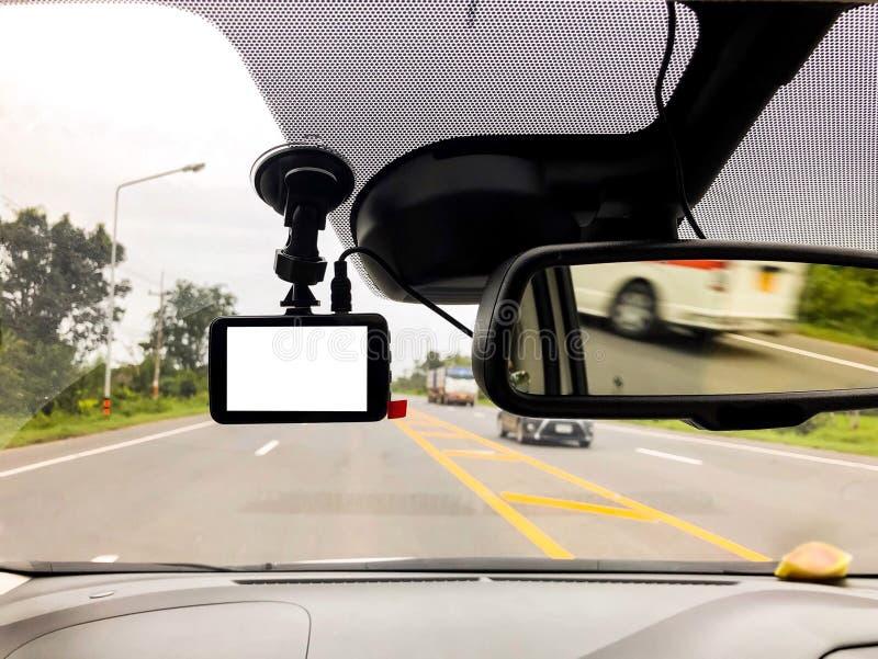 Zwarte digitale dashcamcamera stock foto's