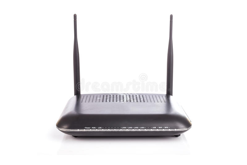 Zwarte draadloze die router op witte achtergrond wordt geïsoleerd stock fotografie