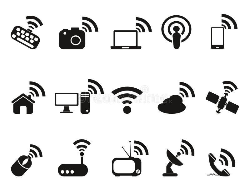 Zwarte draadloze geplaatste technologiepictogrammen royalty-vrije illustratie