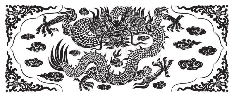 Zwarte draak met wolk en lijn Chinees royalty-vrije stock afbeelding
