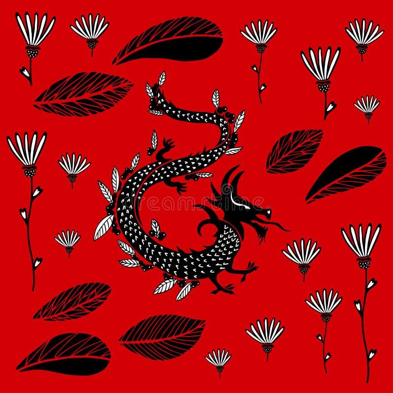 Zwarte Draak op een rode achtergrond royalty-vrije illustratie