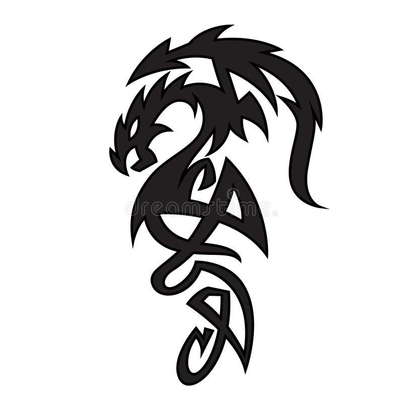 Zwarte draaktatoegering Monster stammenontwerp, fantasieschepsel vector illustratie