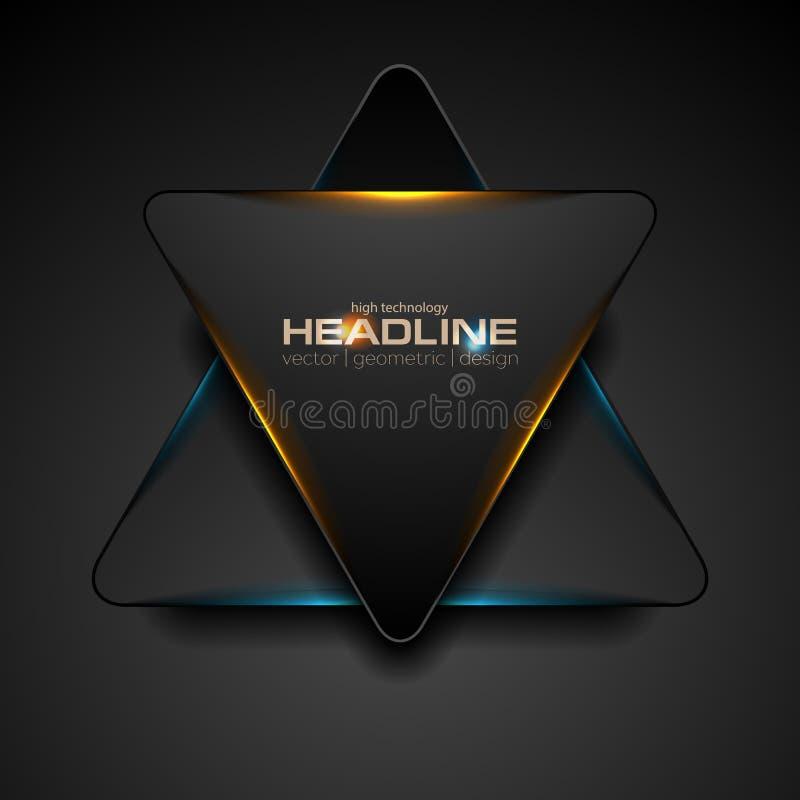 Zwarte driehoek met blauwe oranje lichte abstracte achtergrond royalty-vrije illustratie