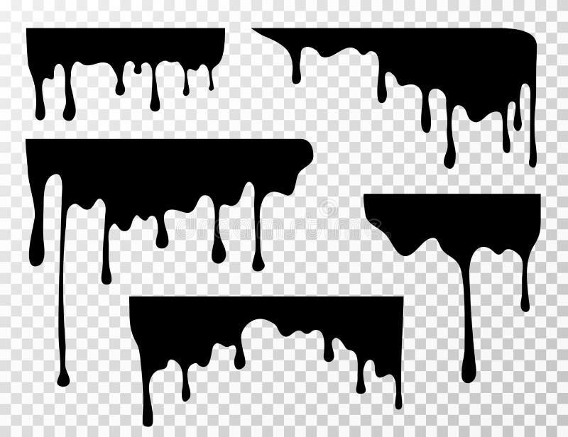 Zwarte druipende van de van de olievlek, saus of verf huidige vector geïsoleerde silhouetten royalty-vrije illustratie