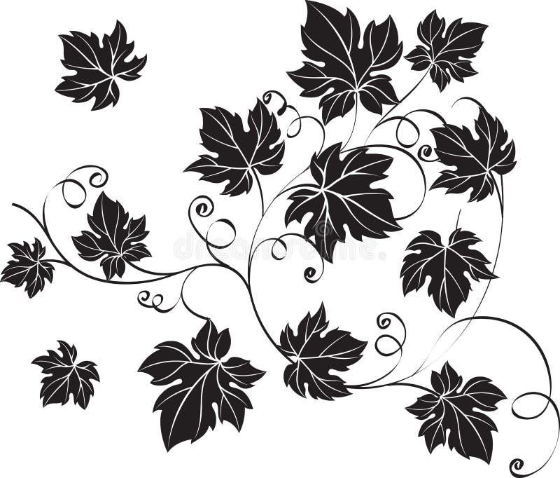 Zwarte druivenbladeren en wijnstokken in uitstekende stijl royalty-vrije illustratie