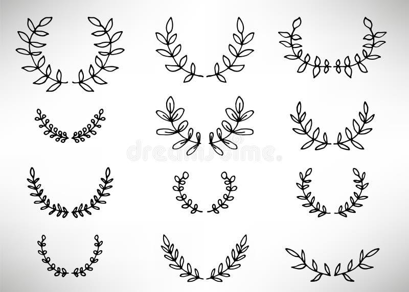 Zwarte dunne lijnkroon van hand getrokken takken en bladeren die op witte achtergrond worden geïsoleerd royalty-vrije illustratie