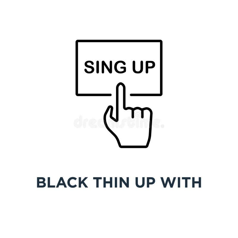 zwarte dunne omhooggaand met handpictogram, symbool lineart stileert concept van het de kunstontwerp van tendens het moderne logo royalty-vrije illustratie