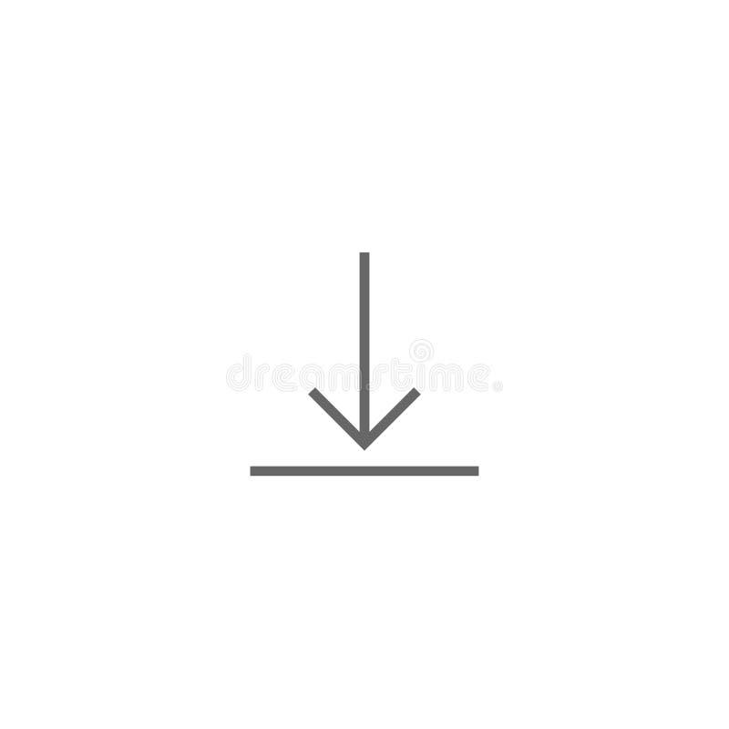 Zwarte dunne pijl onderaan pictogram vlak die downloadteken op wit wordt geïsoleerd royalty-vrije illustratie
