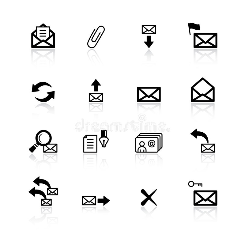 Zwarte e-mailpictogrammen vector illustratie