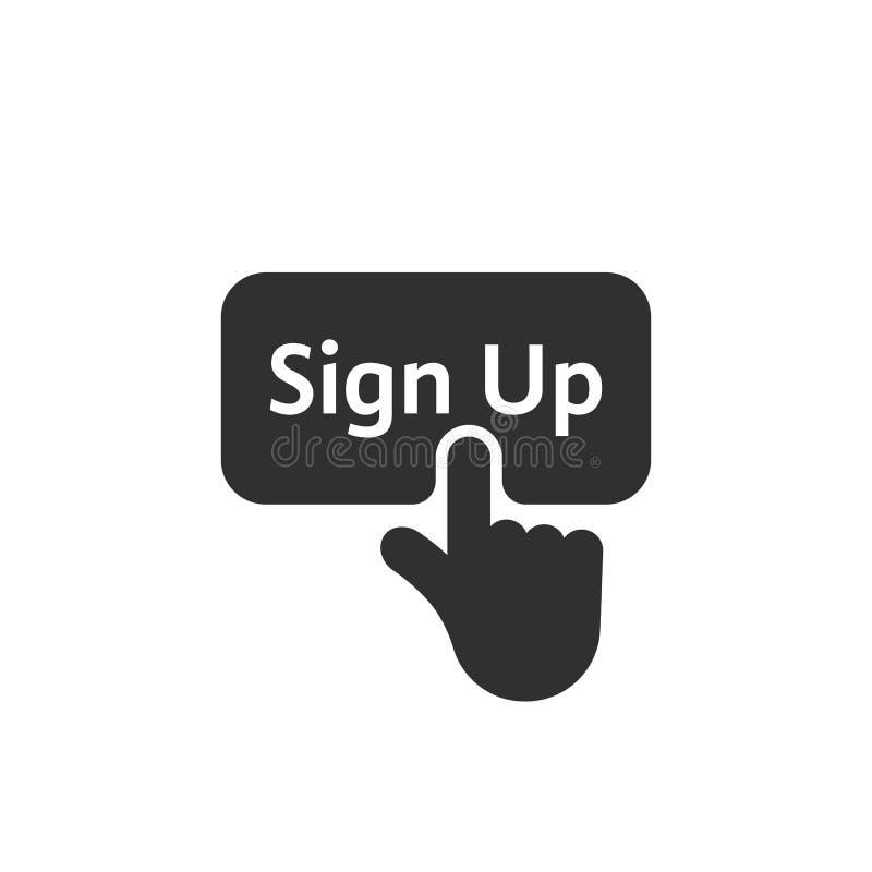 Zwarte eenvoudige vingerpersen op teken op knoop royalty-vrije illustratie
