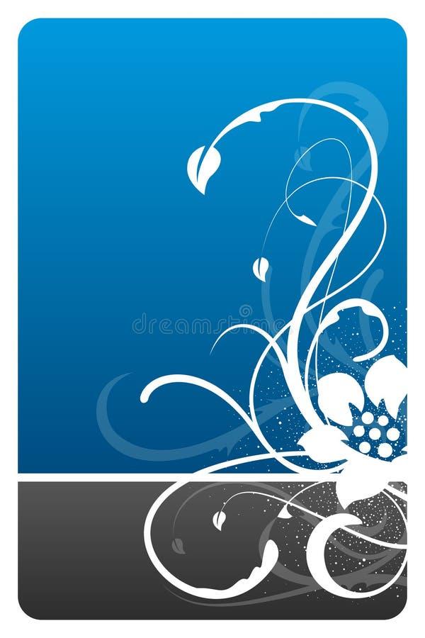 Zwarte en blauwe bloemenontwerpkaart vector illustratie