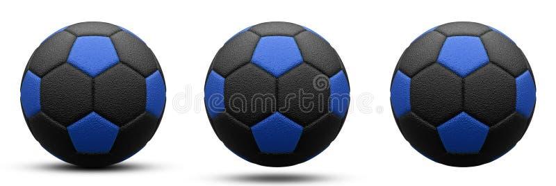 Zwarte en blauwe voetbalbal in drie versies, met en zonder schaduw Geïsoleerd op wit 3d geef terug stock illustratie