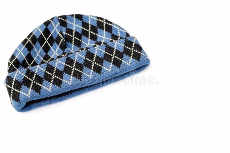 Zwarte en blauwe wollen hoed stock afbeeldingen