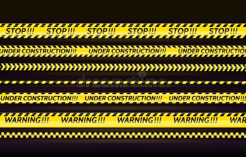 Zwarte en gele geplaatste strepen Waarschuwingsbanden Gevaarstekens Voorzichtigheid, EINDE, in aanbouw, Barricade band, scènebarr vector illustratie
