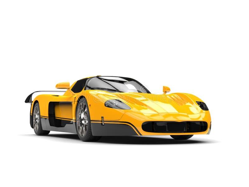 Zwarte en gele ontzagwekkende concepten super auto stock illustratie
