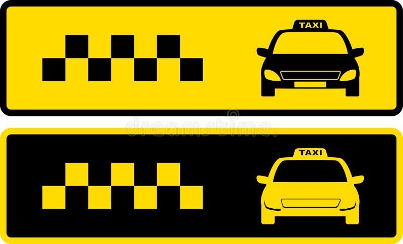 Zwarte en gele taxipictogrammen royalty-vrije illustratie