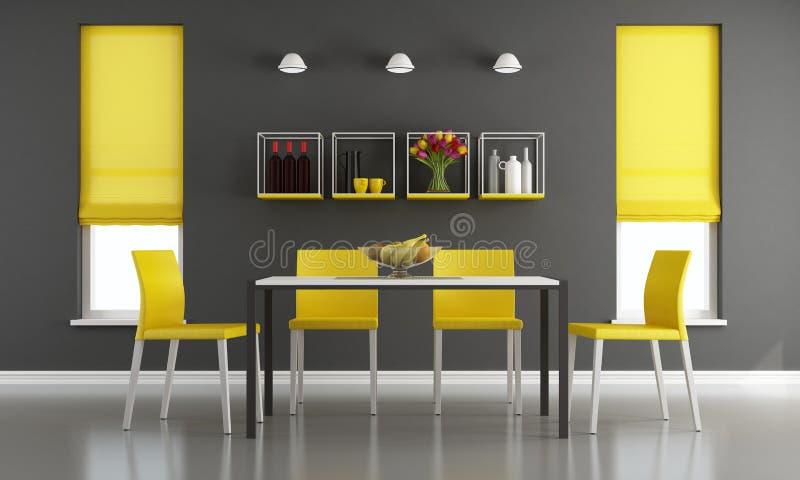 Zwarte en gele woonkamer vector illustratie