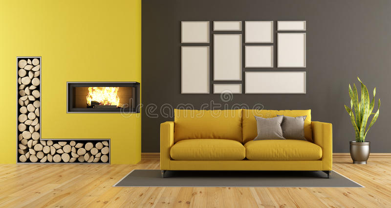 Zwarte En Gele Woonkamer Met Open Haard Stock Illustratie ...
