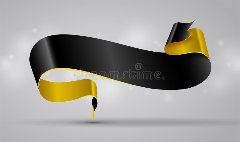 Zwarte en goud gebogen lint of banner vector illustratie