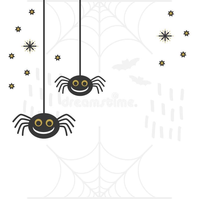 Zwarte en gouden abstracte leuke het glimlachen hangende spinnen met sterrenaffiche royalty-vrije illustratie