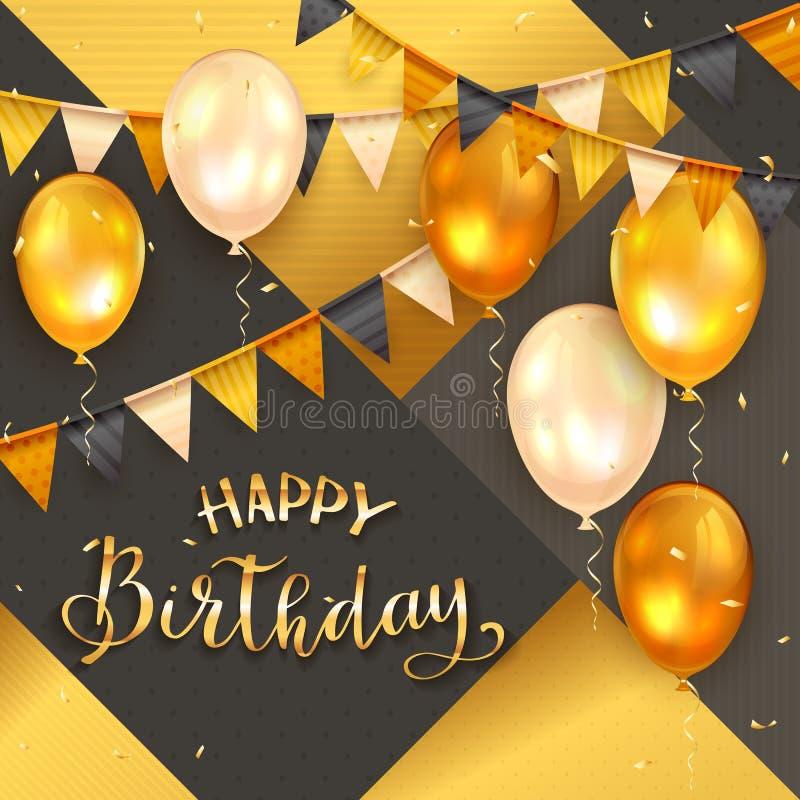Zwarte en Gouden Achtergrond met Gouden Verjaardagsballons en Wimpels royalty-vrije illustratie