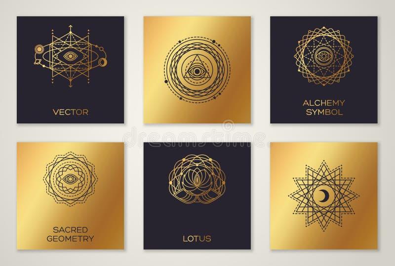 Zwarte en Gouden Alchimiesymbolen vector illustratie
