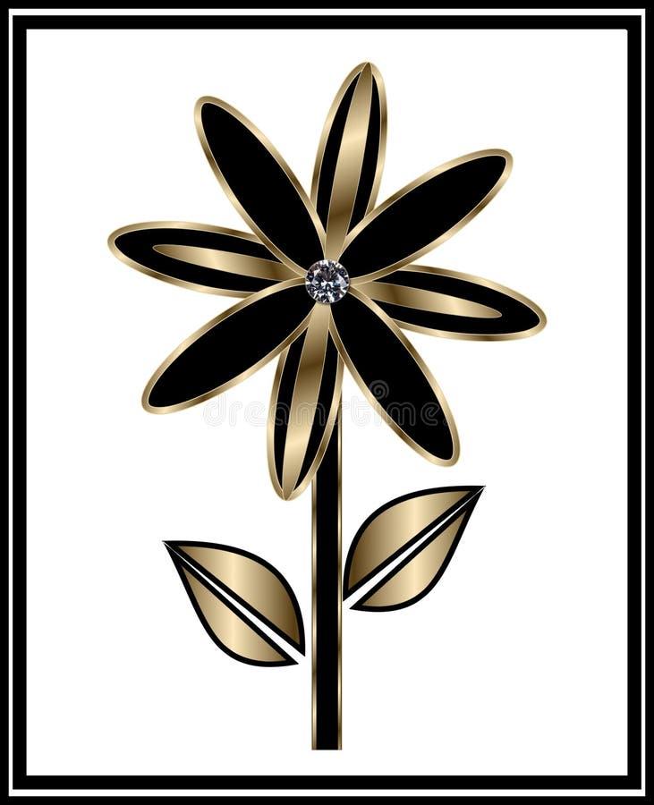 Zwarte en Gouden Bloem stock illustratie