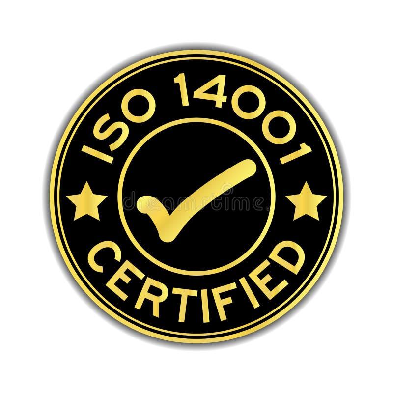 Zwarte en gouden die kleur ISO 14001 met tekenpictogram wordt verklaard om st vector illustratie