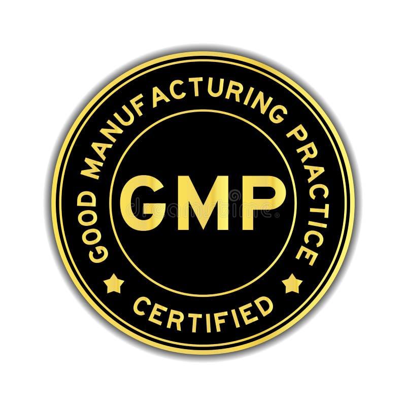 Zwarte en gouden kleur GMP om sticker vector illustratie
