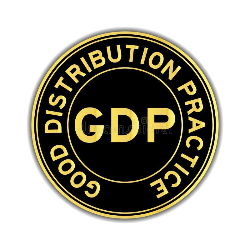 Zwarte en gouden kleur van sticker van de de distributiepraktijk van het BBP de Goede stock illustratie