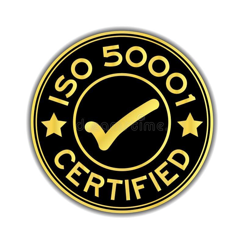 Zwarte en gouden kleureniso 50001 verklaarde sticker royalty-vrije illustratie