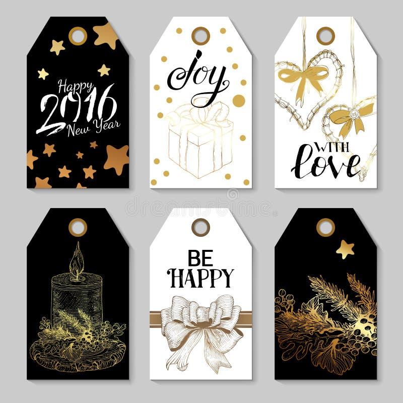 Zwarte en Gouden kleurenreeks Vrolijke Kerstmismarkeringen vector illustratie