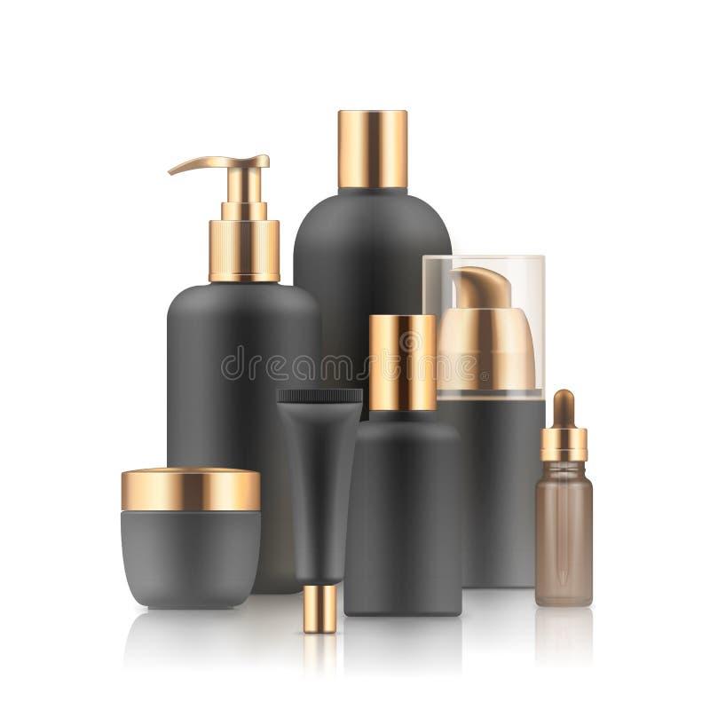 Zwarte en gouden kosmetische containers: vector illustratie