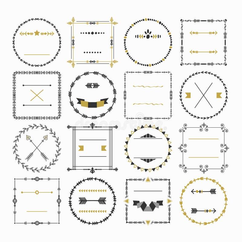 Zwarte en gouden lege cirkel en vierkante geplaatste het ontwerpelementen van het grensembleem royalty-vrije illustratie