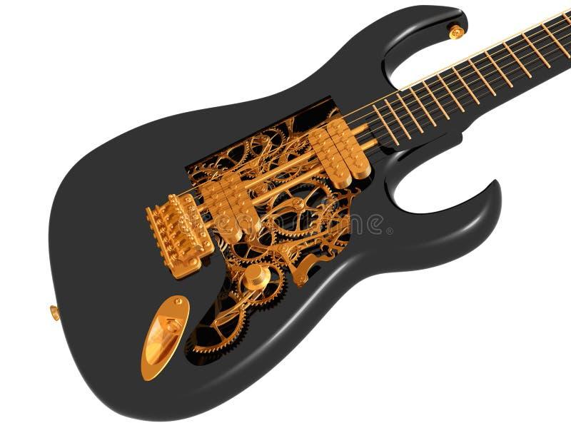 Zwarte en gouden mechanische gitaar royalty-vrije illustratie