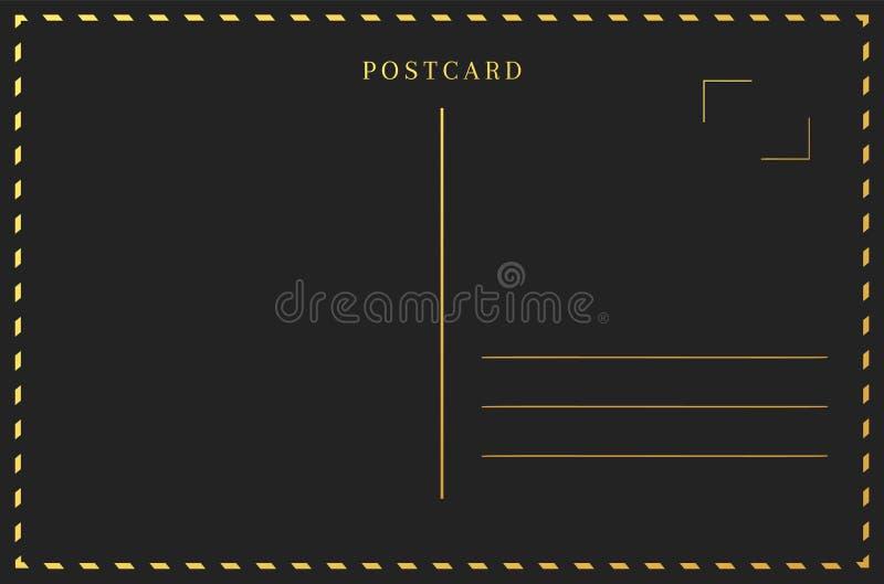 Zwarte en gouden prentbriefkaarrug De grenskader van de reiskaart stock illustratie