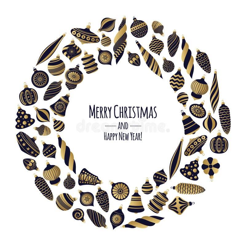 Zwarte en gouden retro snuisterijenachtergrond De decoratieve ballen van de Kerstmisboom stock illustratie