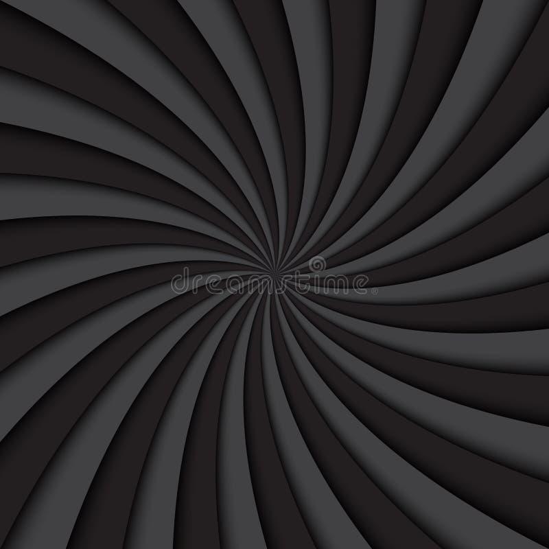 Zwarte en grijze wervelingsachtergrond, roterende spiraal vector illustratie